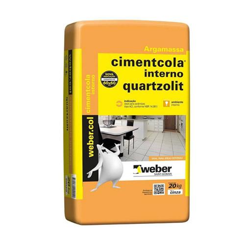 Argamassa Cimentcola Interno Aci 20kg Cinza Quartzolit